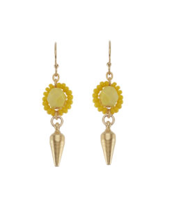 Yellow Flower Beaded Earring Small