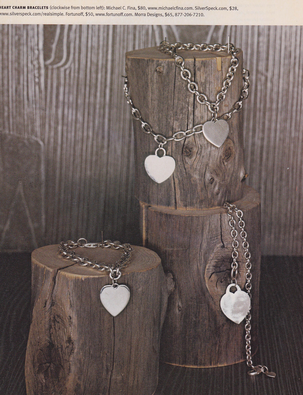 Hammered Heart Charm Bracelet
