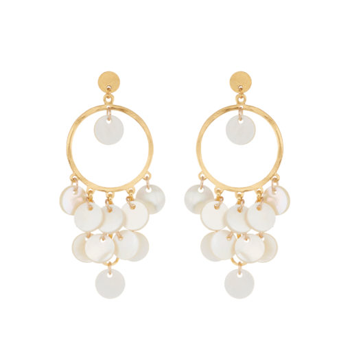 mother of pearl gypsy cluster earrings