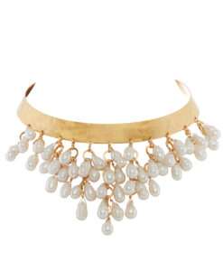 collar, pearls, gold