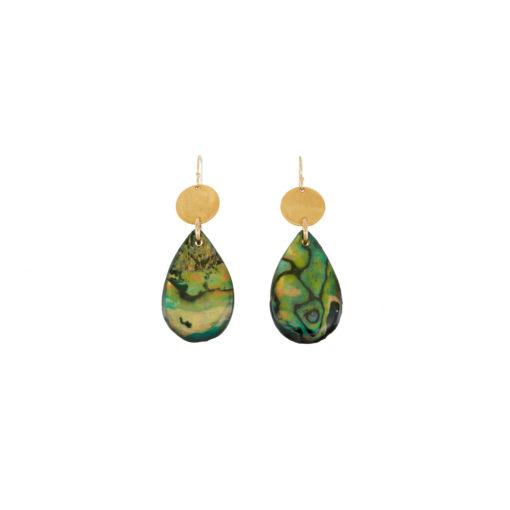 discs, shells, abalone, teardrop, earrings
