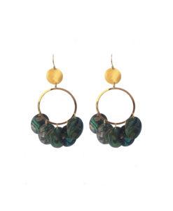 earrings, discs, abalone, gold, gypsy