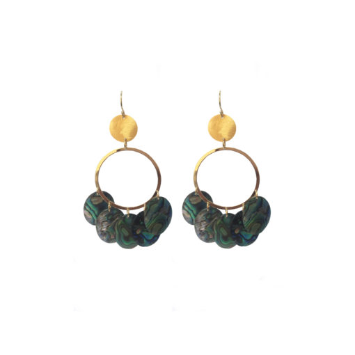 earrings, discs, abalone, gold, gypsy