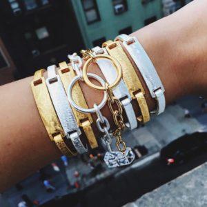 id bracelets, gold, silver